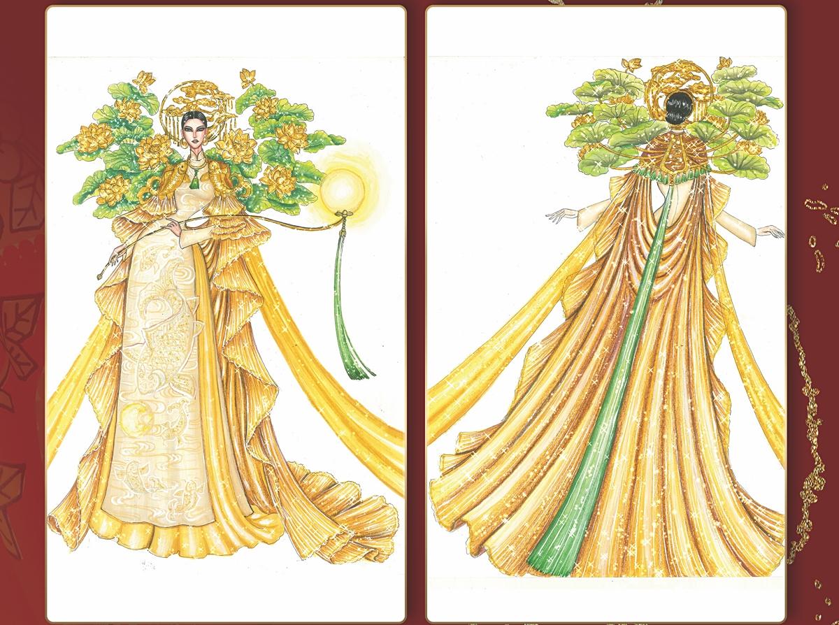 Lý Ngư Vọng Nguyệt' của Thạch Thành Đạt tái hiện lại bức tranh khắc gỗ dân gian Đông Hồ với nhiều nét phá cách