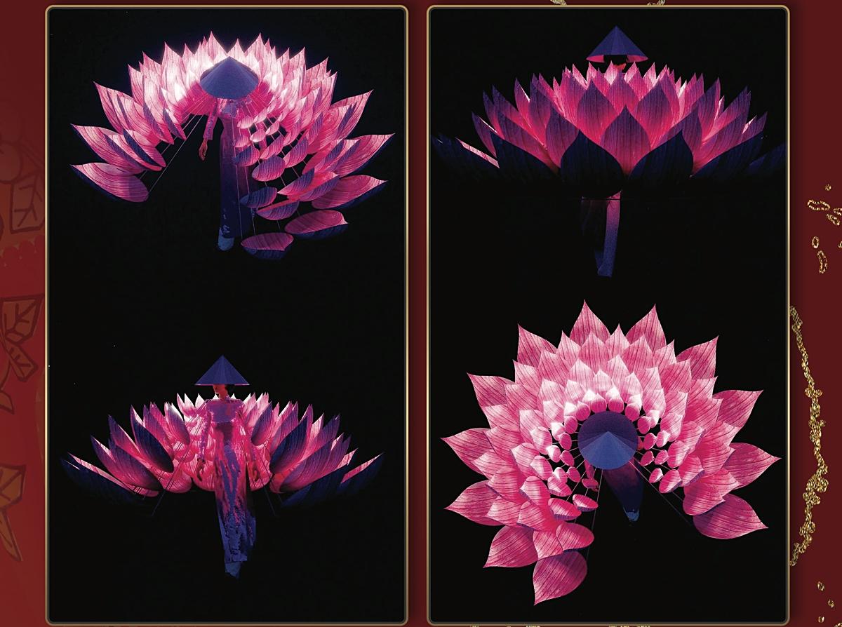 'Hoa Sen' của Trương Tuấn Vũ có phần hiệu ứng đèn led làm nổi bật hình ảnh hoa sen khi di chuyển