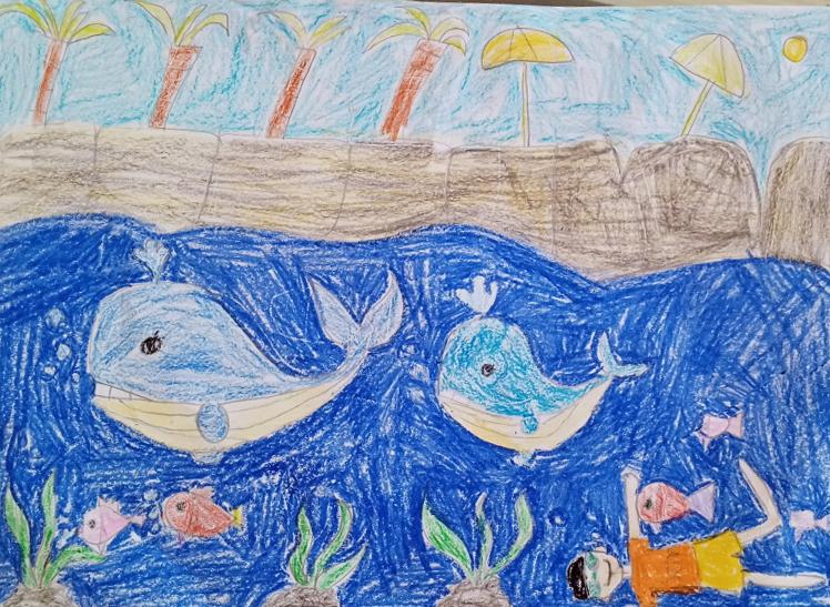 Bé Nguyễn Trường Sơn rất yêu động vật, bé vẽ ước mơ được làm bạn với chú cá voi ở đại dương xanh.