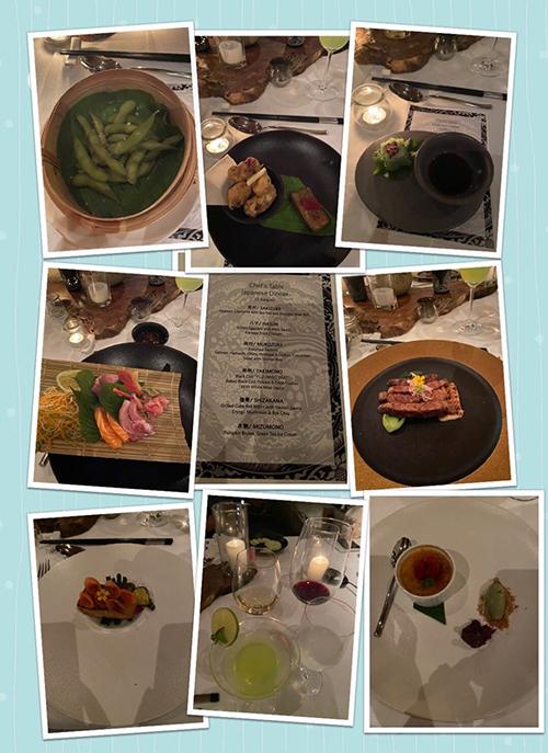 Không chỉ nếm thử đặc sản địa phương, Giáng My còn đích thân vào bếp để tìm hiểu các món ẩm thực Nhật Bản. Giáng My chia sẻ: Nếu muốn có một bữa tối riêng biệt với gia đình, bạn có thể chọn ăn đồ Nhật, thưởng thức sake lạnh, sashimi, dưới ánh nến và ngắm cảnh biển đêm từ trên cao. Món khai vị gồm có cơm cuộn maki với bơ, đậu nành luộc, salad cá hồi, một khay sashimi, cá than nướng, súp miso, thịt bò nướng sôt yakitori, cải chíp sốt bào ngư và tráng miệng bằng kem trà xanh và bí ngô nướng.