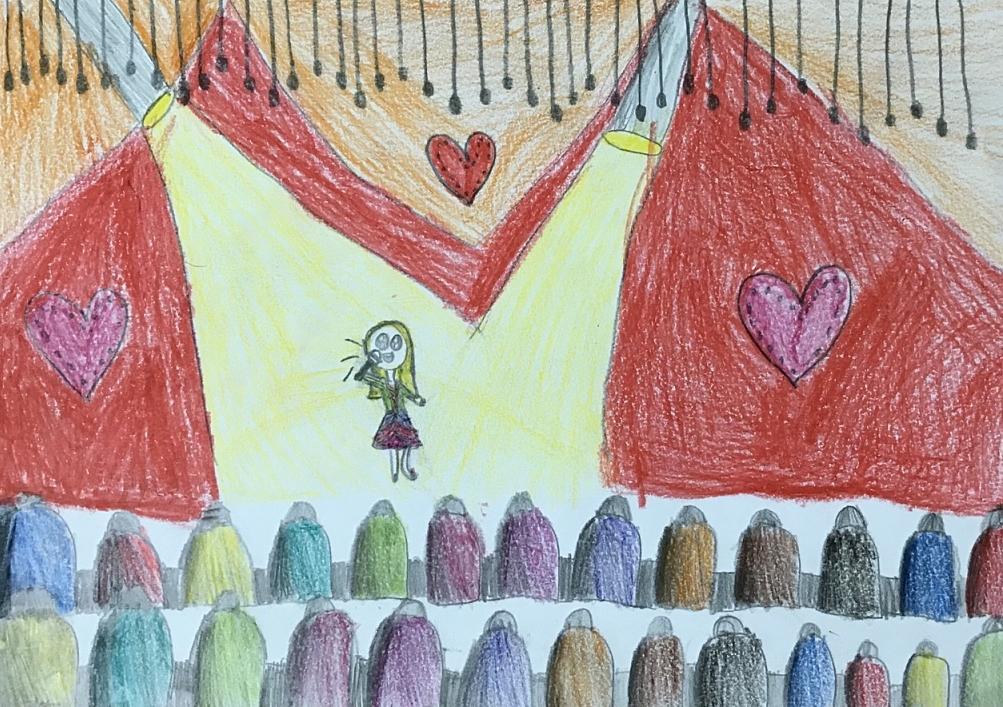 Bé Tuyết Vân (8 tuổi) từ nhỏ đã thích ca hát, nhạy với âm nhạc. Bé thuộc một số bài hát từ khi 2 tuổi. Tuyết Vân mong ước lớn lên trở thành ca sĩ. Bé tưởng tượng trở thành ca sĩ biểu diễn trên sân khấu hoành tráng, có hai cái đèn chiếu vào, bên dưới là những hàng ghế khán giả đang chăm chú nghe bé hát.