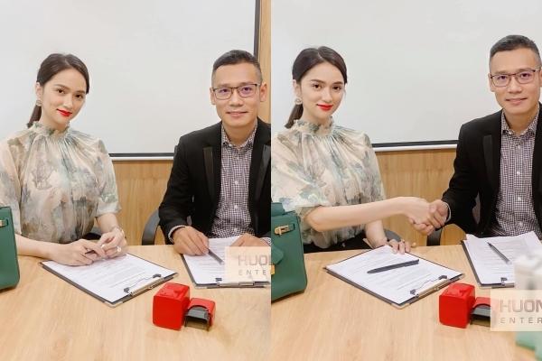 Hương Giang ký kết hợp tác với đối tác.