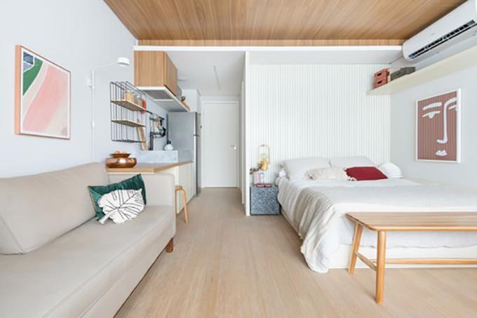 Căn hộ tại Brazil có tổng diện tích sàn 29 m2, được hoàn thiện năm 2020 bởi Todos Arquitetura. Với diện tích căn hộ hạn chế, thiết kế thông minh là yếu tố cơ bản để tối ưu hóa không gian.