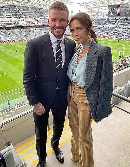 Vợ chồng Becks tới sân ủng hộ Inter Miami hồi đầu tháng ba. Ảnh: Instagram.