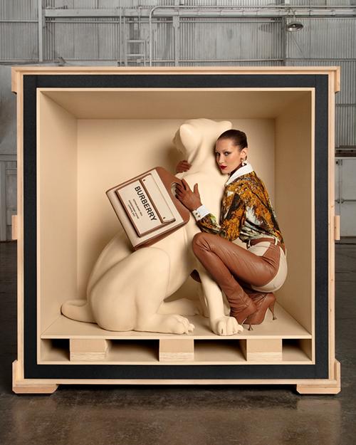Cấu trúc được lấy cảm hứng từ kho tàng những sáng tạo túi xách của Burberry. Từ phom dáng nguyên thuỷ, chiếc túi được biến tấu bằng cách thêm túi nhỏ phía trước và có quai đeo bằng da.