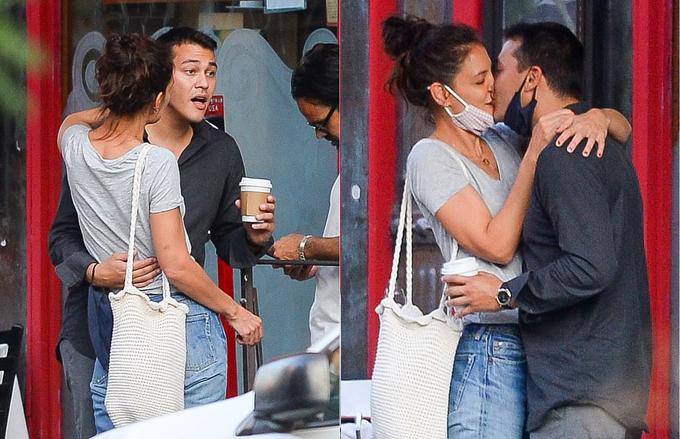 Emilio Vitolo Jr và Katie Holmes ôm hôn hôm 8/9.