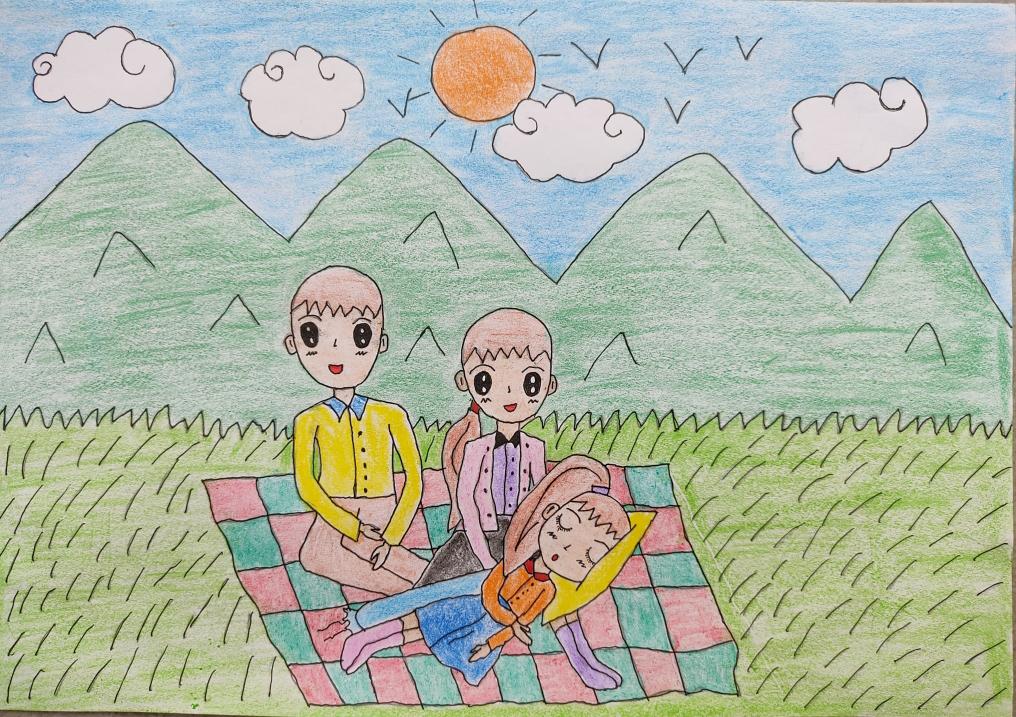 Bức tranh bé Vân Như vẽ gửi gắm ước mơ các gia đình đều bình an, hạnh phúc.
