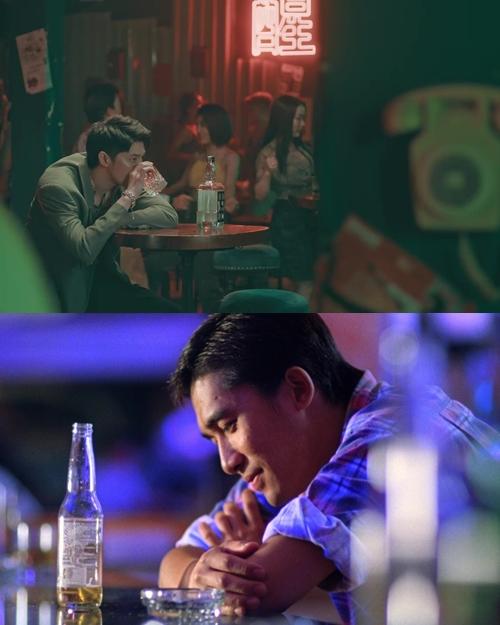 Khoảnh khắc Noo một mình uống rượu trong quán bar tương đồng với giây phút Lương Triều Vỹ trầm ngâm trong phim Chungking Express.