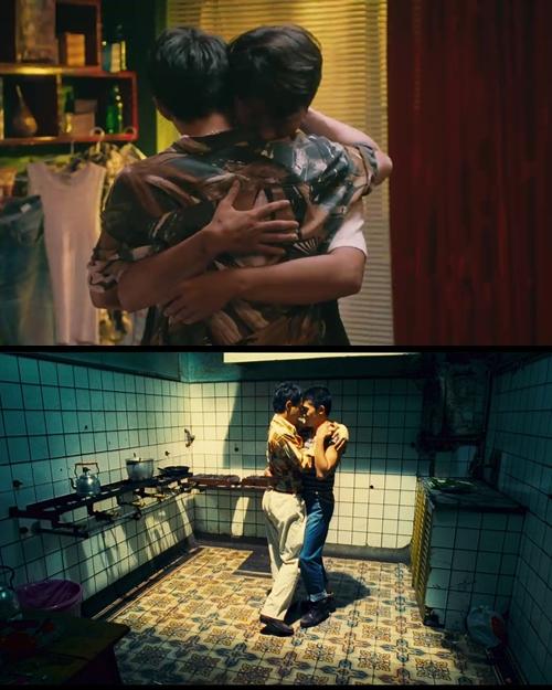 Cảnh Noo ôm diễn viên Lim Ji Hyuk trong MV Em đã thương người ta hơn anh cũng gợi nhắc phim Happy Together.