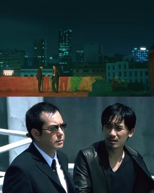 Hình ảnh điệp viên Noo Phước Thịnh nhận nhiệm vụ từ cấp trên tại sân thượng một tòa nhà lấy cảm hứng từ các cảnh phim cảnh sát chìm Lương Triều Vỹ trao đổi với sếp của mình trên sân thượng trong phim Vô gián đạo.
