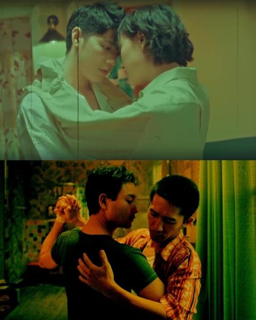 Cảnh Noo Phước Thịnh khiêu vũ với Hồ Thu Anh trong căn phòng nhỏ có ánh đèn neon xanh gợi cảm giác tình tứ, riêng tư giống cảnh của Lương Triều Vỹ và Trương Quốc Vinh trong phim Happy Together.
