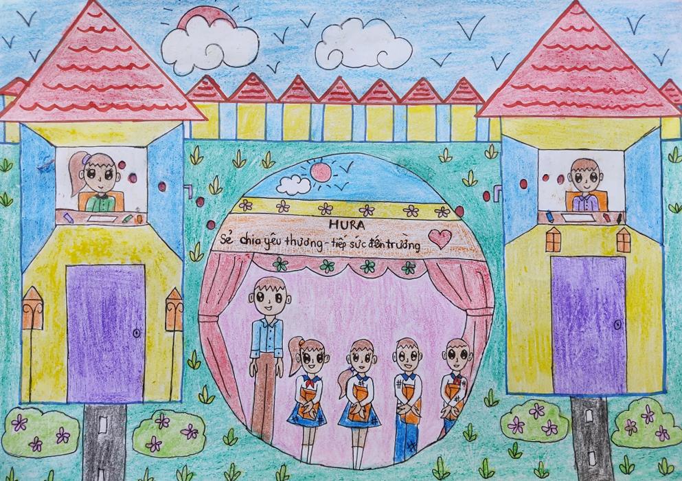 Bức tranh chia sẻ yêu thương, tiếp sức cho nhiều bạn nhỏ có hoàn cảnh khó khăn đến trường do bé Vân Như (8 tuổi, Đồng Nai) vẽ.