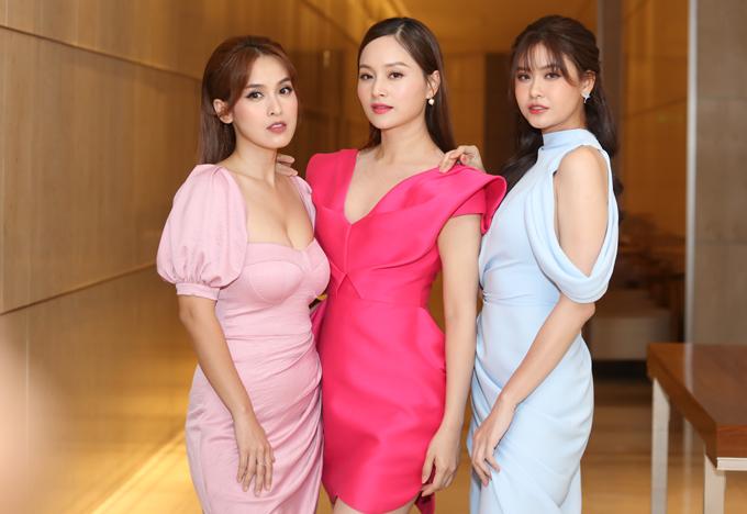 Ba người đẹp một con Tú Vi, Lan Phương và Trương Quỳnh Anh đọ sắc trong sự kiện chiều 14/9.