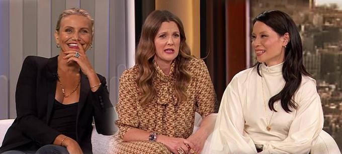 (Từ trái qua phải) Cameron Diaz, Drew Barrymore và Lucy Liu trong talkshow hôm thứ hai.