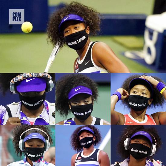 Tại Mỹ mở rộng năm nay, tay vợt sắp đón tuổi 23 còn gây chú ý khi đeo khẩu trang đen in tên các nạn nhân là người da màu trong các vụ xô xát với cảnh sát. Cô gái trẻ thể hiện quan điểm rõ ràng ủng hộ phong trào đòi quyền bình đẳng cho người da màu tại Mỹ.
