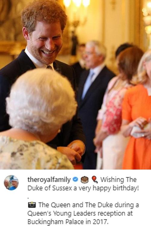 Bài đăng chúc mừng sinh nhật Harry 36 tuổi của Nữ hoàng. Ảnh: Instagram.