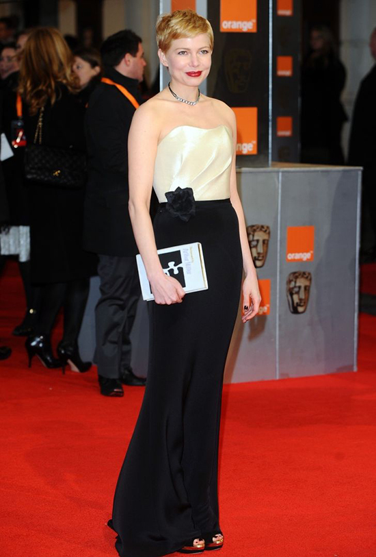 Michelle Williams at BAFTA Awards 2012 H&M top, $20 and H&M skirt, $30