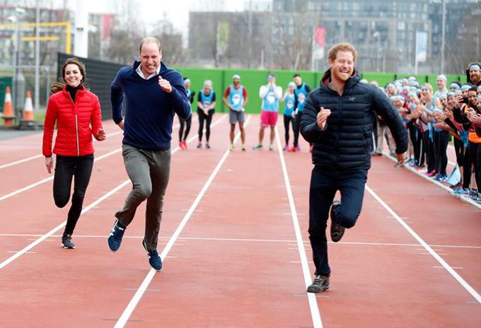 Kate, William và Harry thi chạy ở Queen Elizabeth Olympic Park hồi năm 2017. Ảnh: PA.