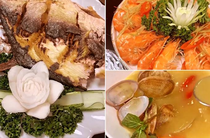 [Caption] ngao 2 cồi súp tôm hùm, tôm hấp cá nướng