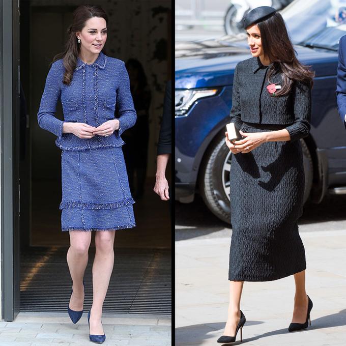 Bộ suit kiểu dáng đa dạngNhững bộ suit luôn đem tới cho người mặc hình ảnh sang trọng. Công nương Kate sở hữu nhiều mẫu suit khác nhau, và Meghan cũng bắt đầu kết thân với loại trang phục này.