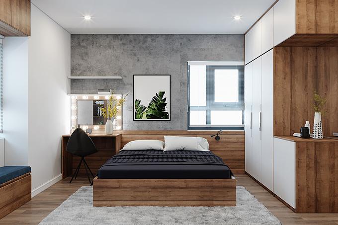 2. Sử dụng gỗ công nghiệp trong thiết kế phòng: Hiện nay, sử dụng đồ nội thất được làm từ gỗ công nghiệp đang trở thành một xu hướng phổ biến. Với dây chuyền sản xuất hiện đại, gỗ công nghiệp có độ chắc chắn và khả năng chịu được áp lực tốt trong quá trình sử dụng, bền đẹp cho nội thất phòng ngủ.