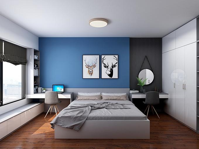 3. Thời thượng hơn với classic blue: Năm 2020, classic blue - màu bầu trời lúc chạng vạng - biểu tượng cho sự mạnh mẽ và những khởi đầu mới mẻ được lựa chọn là màu sắc của năm. Bạn có thể sử dụng màu xanh này cho một bức tường hay một vài đồ trang trí để tạo điểm nhấn giúp phòng ngủ trở nên cá tính và thời thượng hơn.