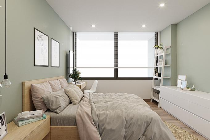 Đối với phòng ngủ nhỏ hẹp, bạn cũng có thể sử dụng các tone màu pastel để mang lại cảm giác nới rộng không gian cho căn phòng. Đây được xem là dạng hiệu ứng đánh lừa thị giác, được tạo ra nhờ đặc tính vốn có của màu sắc, dù diện tích thực tế không có bất kỳ sự thay đổi nào.