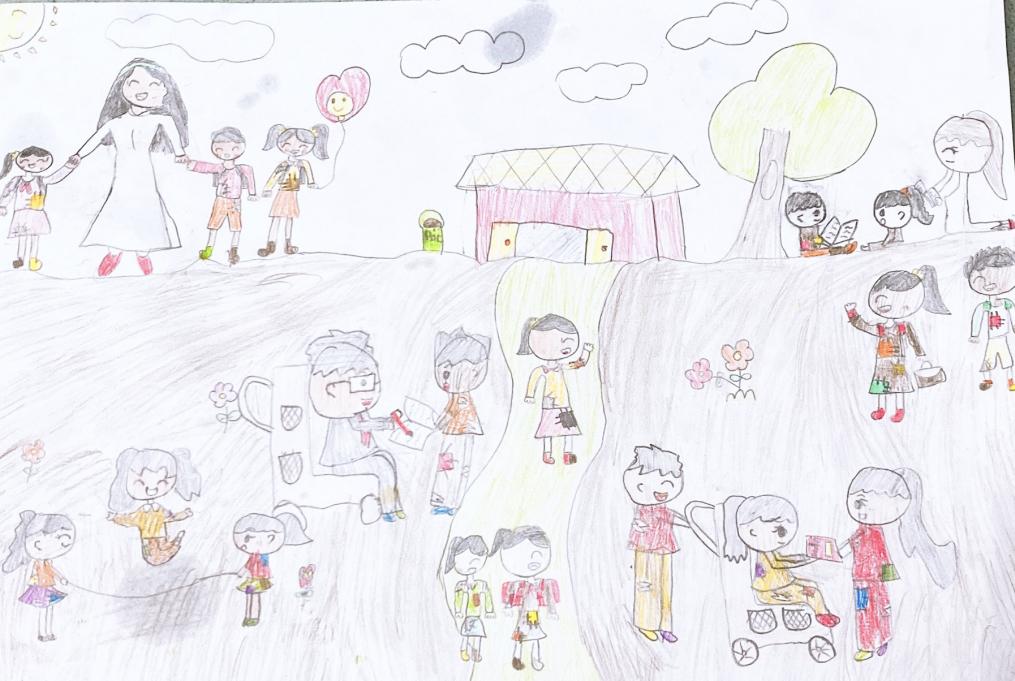 Bé Xuân Nghi vẽ bức tranh thể hiện ước mơ trở thành cô giáo để dạy cho trẻ em nghèo, khuyết tật không có điều kiện đến trường.