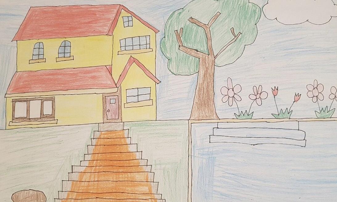 Bức tranh bé Đức Anh (9 tuổi) vẽ ngôi nhà tương lai của gia đình có một trệt một lầu, ba phòng ngủ, cầu thang dẫn xuống sân... nhận được giải thưởng tuần 2 của cuộc thi Cả nhà cùng vẽ ước mơ.