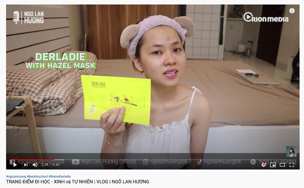 Youtuber Ngô Lan Hương làm một video review khi sử dụng mặt nạ Derladie.