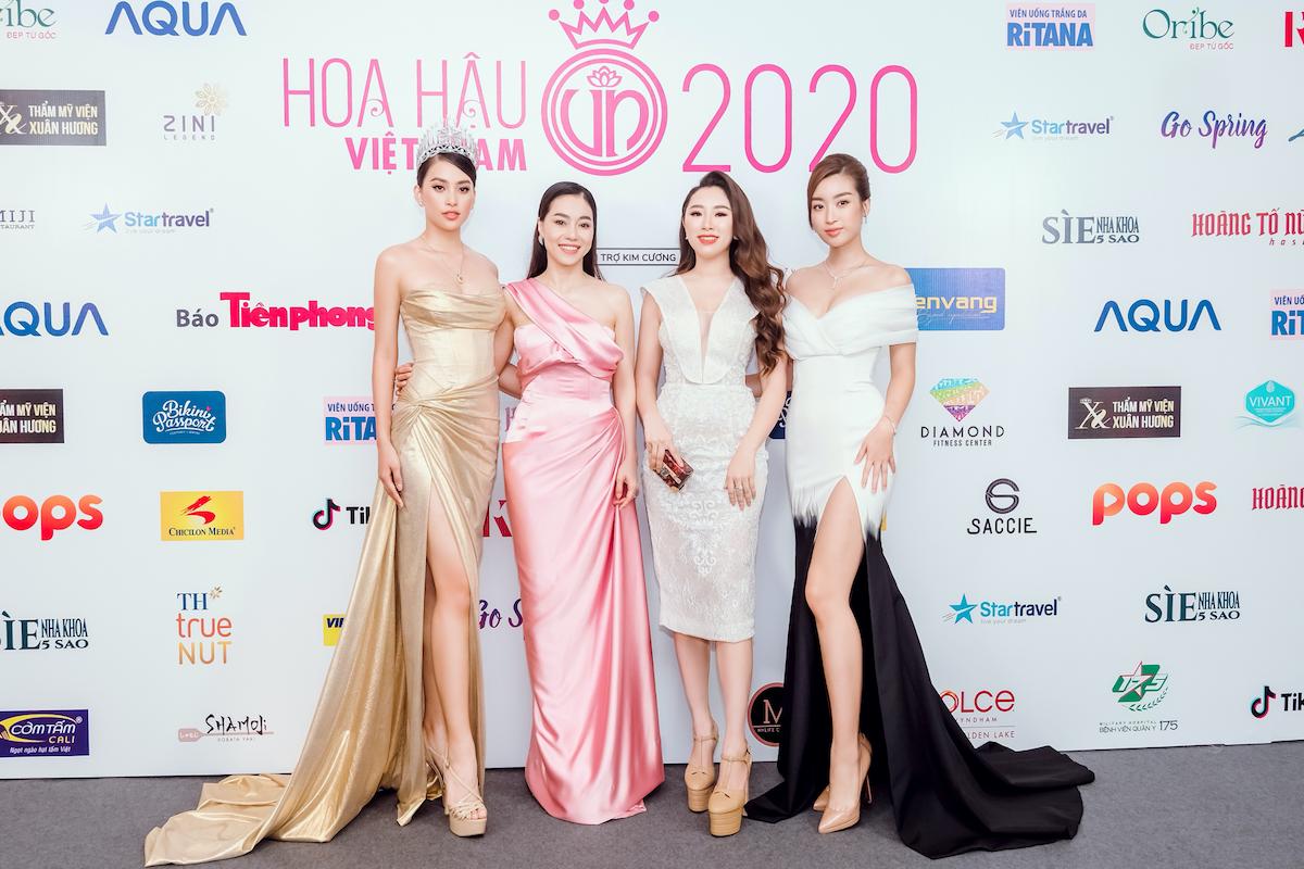 Từ trái sang: Hoa hậu Trần Tiểu Vy, bà Phạm Kim Dung, bà Hoàng Tuyết Mai cùng Hoa hậu Đỗ Mỹ Linh. Ảnh: Nguồn.