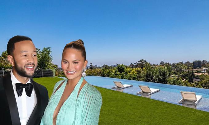 Bể bơi nước mặn có chiều dài 30 m, view nhìn ra thành phố và đại dương. John và Chrissy từng sở hữu nhiều biệt thự khác nhau nhưng cặp sao quyết định bán đi để mua ngôi nhà có tầm nhìn ngoạn mục này.