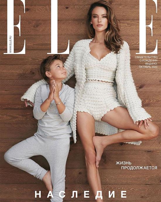 Con trai 8 tuổi của Alessandra lên bìa tạp chí Elle cạnh mẹ.