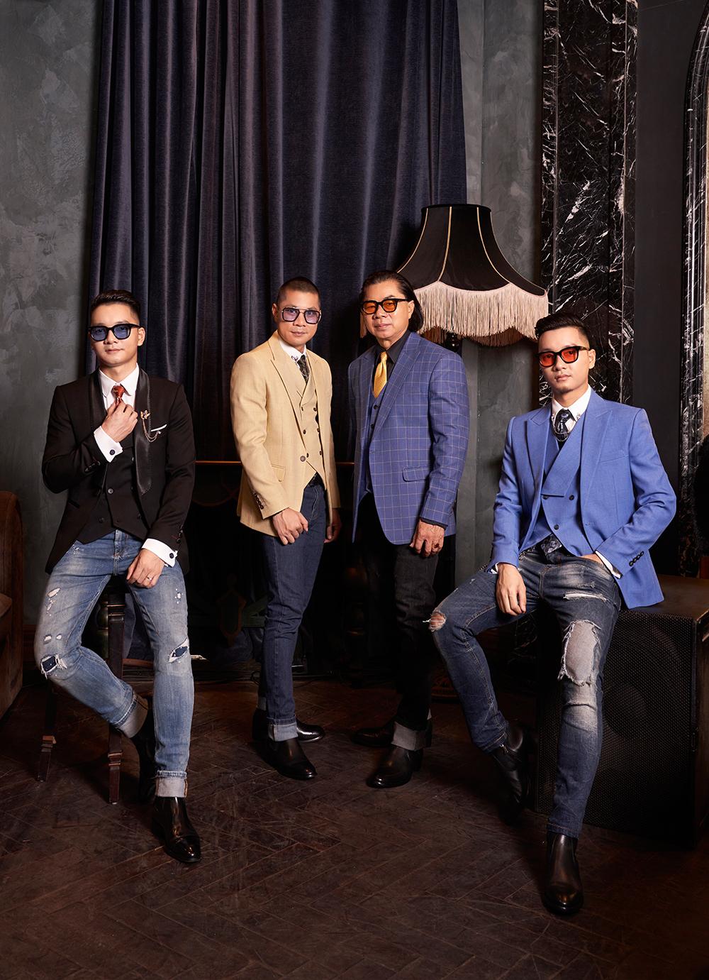 Ông Lê Xuân Tám (thứ hai từ trái sang) cùng các con sở hữu chuỗi thời trang hơn 130 cửa hàng Biluxury.