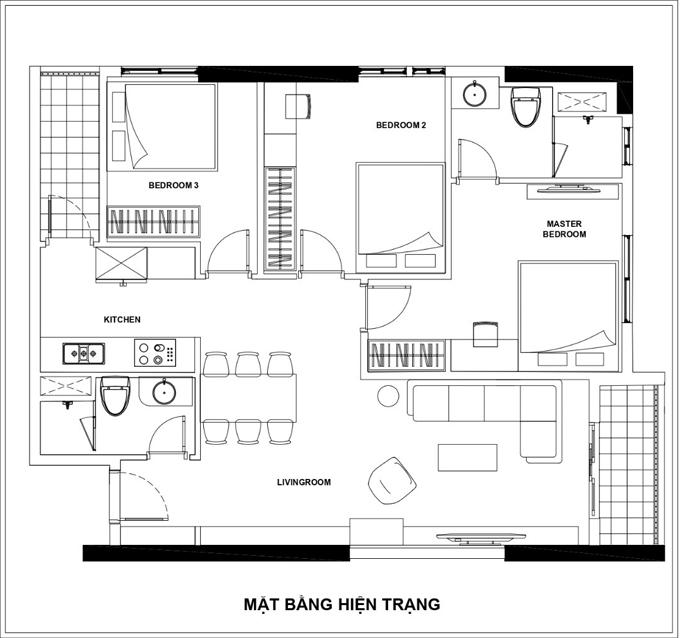 Sơ đồ 2D mặt bằng ban đầu của căn hộ. Công trình đã có sẵn tường, sàn, trần thạch cao và khu vực vệ sinh hoàn thiện. Tuy nhiên, việc ngăn cách giữa các không gian chưa hợp lý nên nhóm KTS đã thảo luận các phương án thiết kế để tối ưu diện tích căn hộ cho gia chủ.