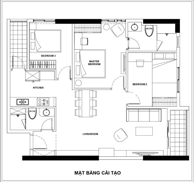 Cuối cùng, phòng ngủ thứ hai được chuyển thành phòng ngủ master, thu hẹp không gian phòng khách. Phòng khách tuy bị cắt giảm diện tích nhưng tạo nên tổng thể rộng rãi hơn.
