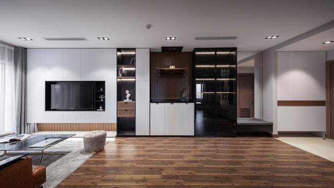 Căn hộ có diện tích 93 m2 tại đường Hồ Tùng Mậu, Nam Từ Liêm, Hà Nội được thi công bởi nhóm kiến trúc sư (KTS): Hiếu Phạm Ngọc - Quỳnh Anh thuộc công ty Hulaa Studio.