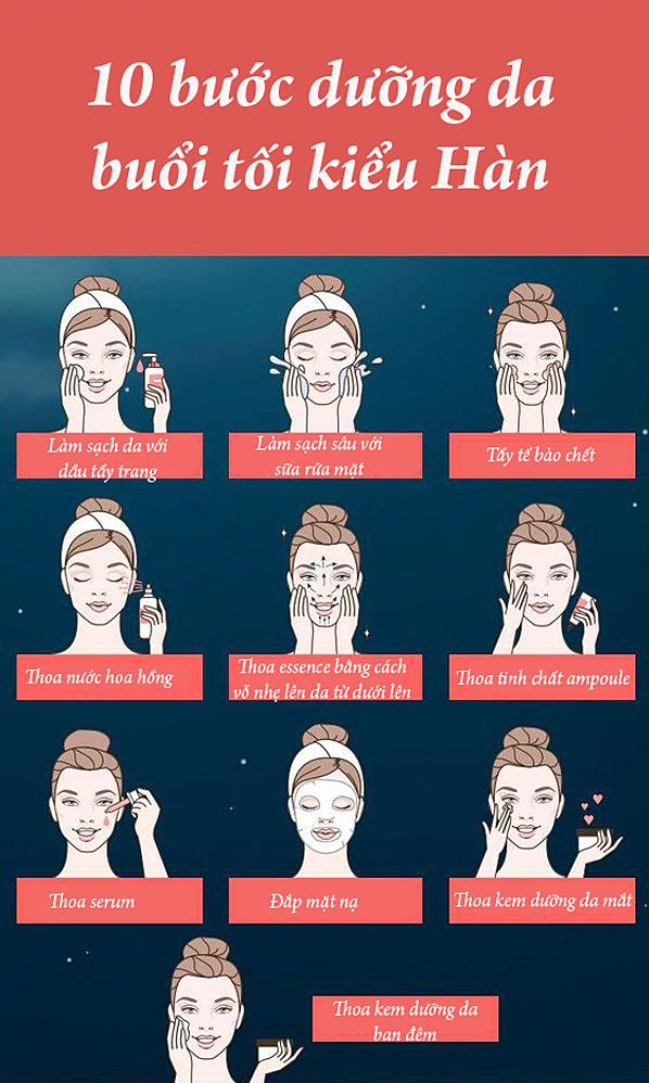 10 bước dưỡng da buổi tối chuẩn Hàn