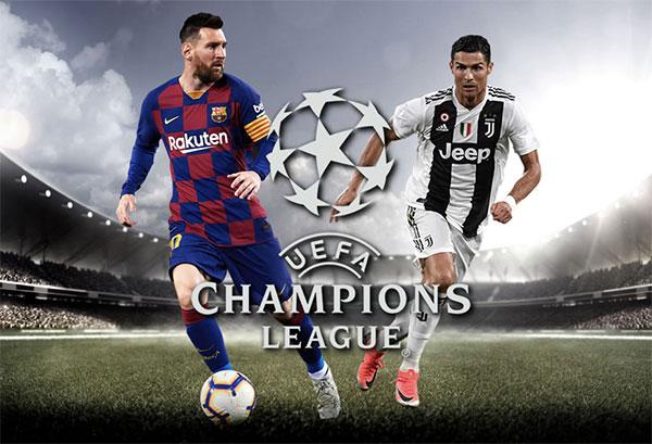 C. Ronaldo và Messi lần đầu ở chung bảng Champions League. Ảnh: UEFA.