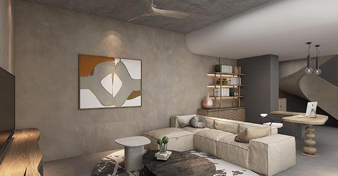 Căn hộ được lựa chọn có 3 tông màu chính, thiên về gam màu trầm, trung tính. Khu vực tiếp khách của căn hộ sẽ có diện tích khoảng 30 m2. Tuy nhiên, Dino sẽ chọn bộ ghế sofa khác, cỡ lớn để có thể tiếp được 10 vị khách tới chơi nhà.