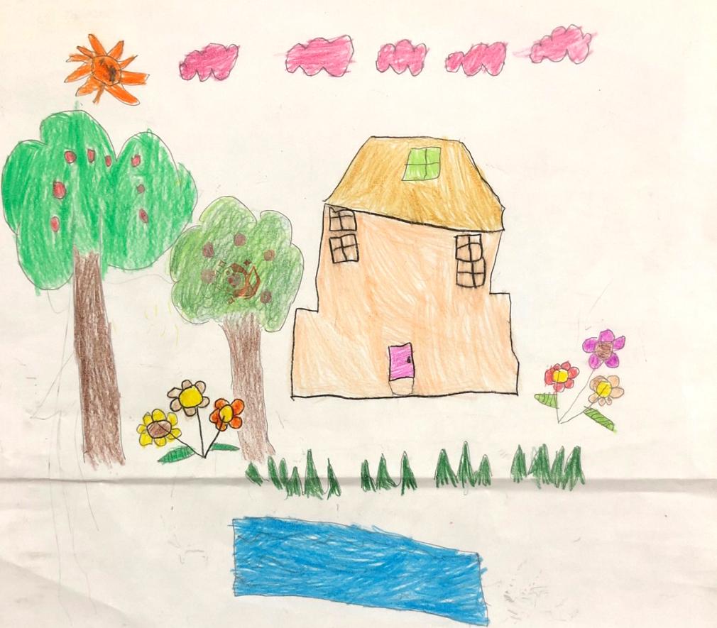bé Nguyễn Diệp Chi (4 tuổi) muốn xây ngôi nhà rộng lớn cho mẹ, muốn có hồ bơi riêng để chị em con bơi thỏa thích.