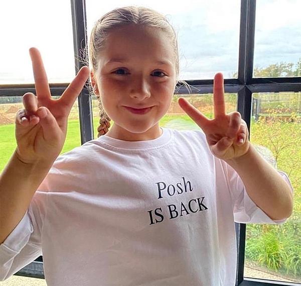 Vic sau đó đăng tải ảnh Harper mặc áo phông in dòng chữ Posh đã trở lai do chính mình thiết kế.