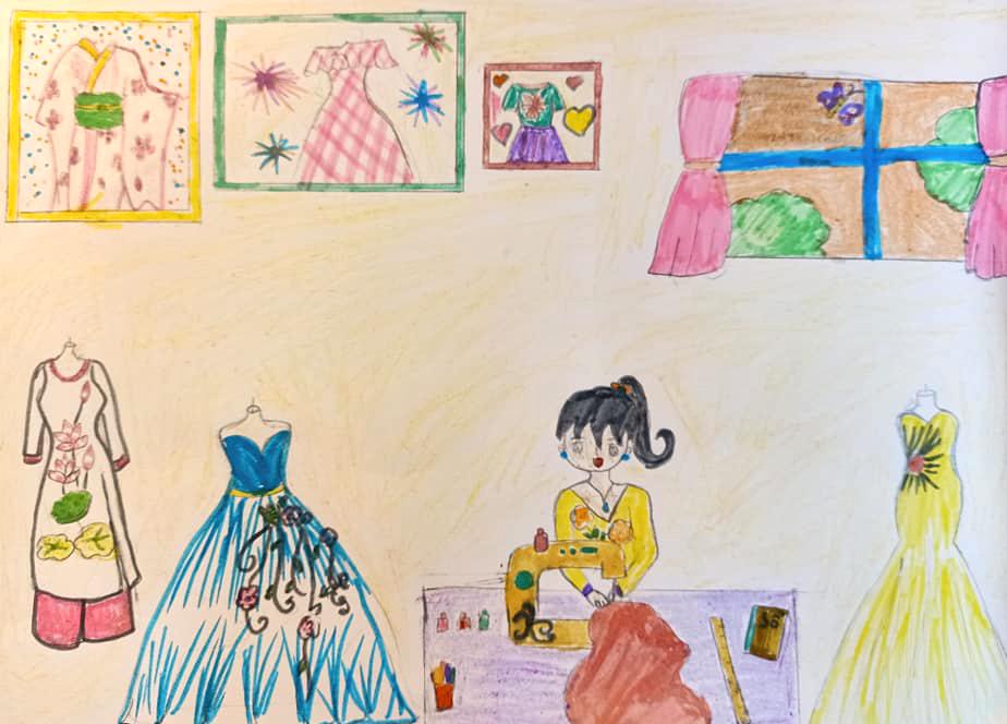 Mỗi lần đọc truyện được ngắm nhìn công chúa trong những bộ cánh lung linh, bé Yến Nhi thấy rất thích. Từ đó, Yến Nhi bắt đầu mày mò vẽ từng chiếc váy cho các nàng công chúa, rồi vẽ áo dài cho bà, cho mẹ vì bà và mẹ vất vả săn sóc, yêu thương bé.