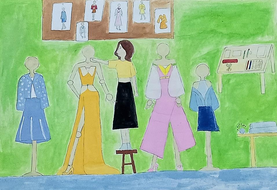 Đam mê thiết kế thời trang nên bé Bảo Vi đã vẽ nên rất nhiều trang phục thời thượng cho phái đẹp. Lớn lên, bé muốn trở thành nhà thiết kế thời có tiếng. Bé cố gắng học thật giỏi để sau này có thể sang Pháp học ngành này.