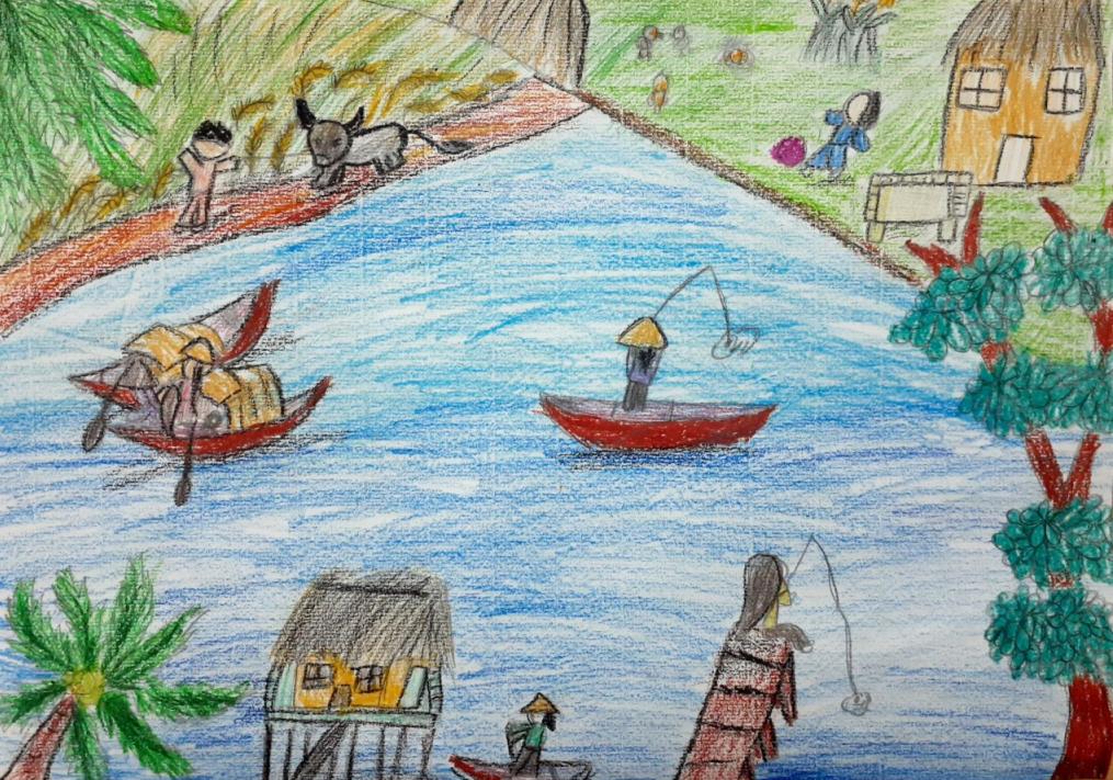 Cuộc sống bình yên, không khí trong lành, quê hương trở nên tươi đẹp là những điều bé Minh Châu mong mỏi. Khung cảnh người dân đánh bắt cá trên sông, các bạn nhỏ chơi đùa trên cánh đồng còn