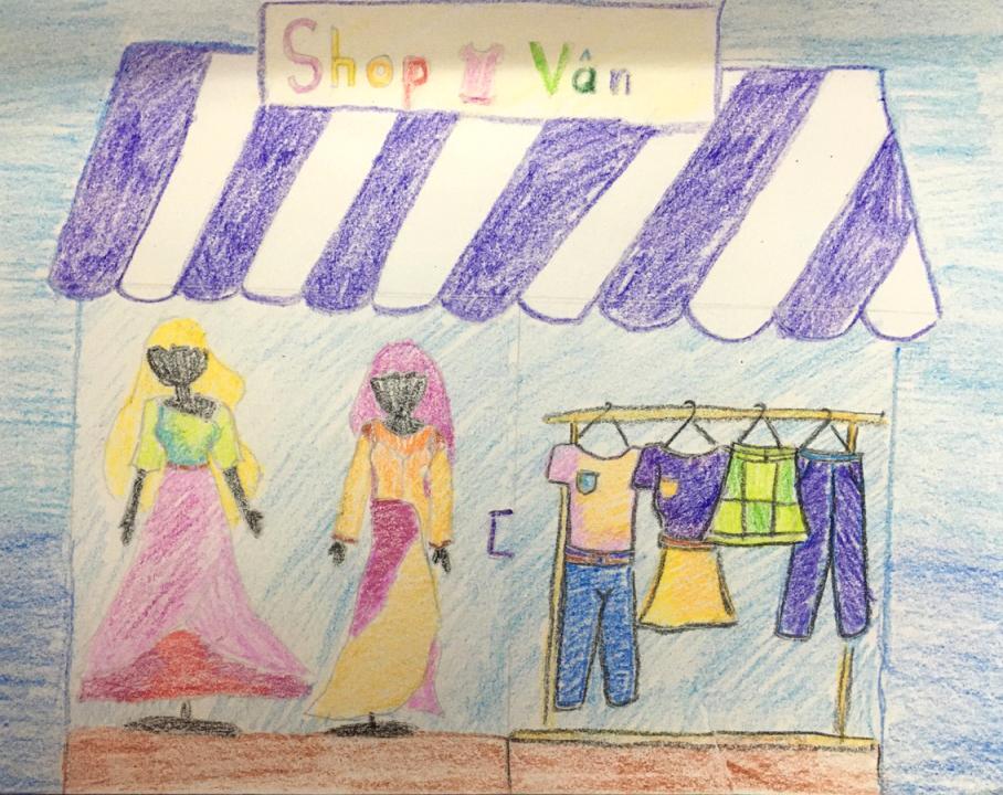 Bé Mỹ Vân (8 tuổi) vẽ những bộ váy, quần jeans, áo thun..., mong có cơ hội được tự tay thiết kết chúng và trao tặng cho những người nghèo. Bé còn ước mơ mở cửa hàng thời trang của riêng mình để giúp mọi người trở nên xinh đẹp hơn.