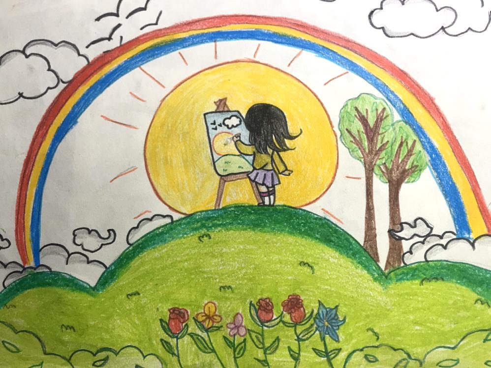 Ước mơ thế giới hòa bình, có những phút giây bình yên, tự do làm điều mình thích được cô họa sĩ nhí Khánh Thy truyền tải qua bức tranh.