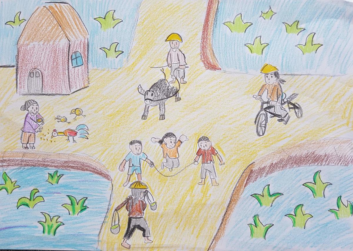 Ở quê ngoại, bé Phương Nam được thỏa thích vui đùa trong không khí làng quê. Bé có thể cho gà ăn, cưỡi trâu ra đồng và bắt cua. Kỷ niệm nơi vùng quê bình yên luôn là ký ước tuổi thơ tươi đẹp của bé.