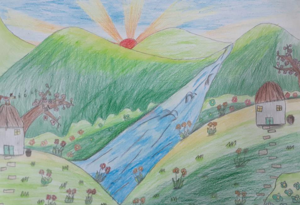 Bé Bình An (9 tuổi) yêu miền quê yên bình, đồi núi nhiều cây xanh tươi. Ở nơi đó, bé cảm nhận được cảnh đẹp của cỏ cây, hoa lá, tận hưởng không gian trong xanh. Ước mơ giản dị được bé phát họa qua bức tranh gửi đến cuộc thi Cả nhà cùng vẽ ước mơ.
