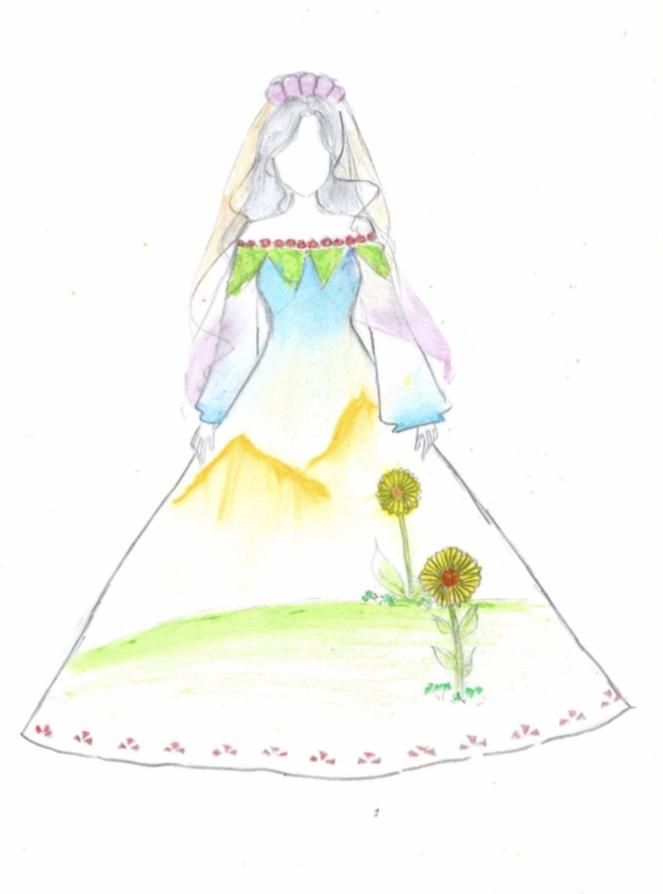 Bé Thanh Trúc chia sẻ, vẽ trang phục là lợi thế của bé. Bé có thể sáng tạo nhiều chiếc váy khác nhau. Đây là chiếc đầm công chúa hở vai, phần chân váy hoa hướng dương, phối màu sắc hài hòa. Thanh Trúc chỉ được học một vài tiết trên lớp, về nhà tự mày mò và xem vẽ qua các tờ báo nhưng từng đoạt giải cuộc thi ở địa phương. Nhờ đó, bé có thêm động lực để tiếp tục niềm đam mê vẽ tranh.